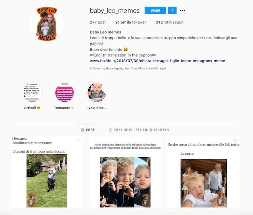 Leone Lucia Ferragni Instagram, ecco 1 pagina di meme