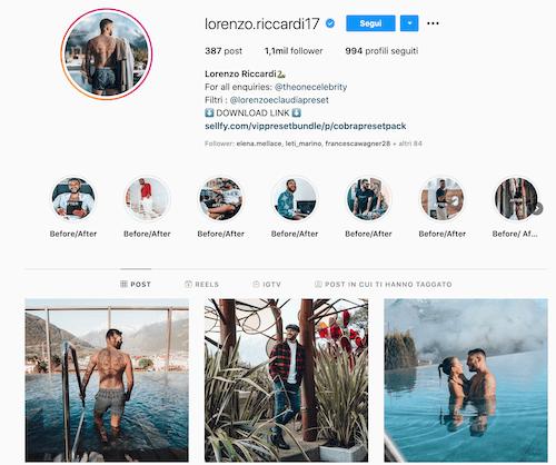 Lorenzo Riccardi Instagram, il n 1